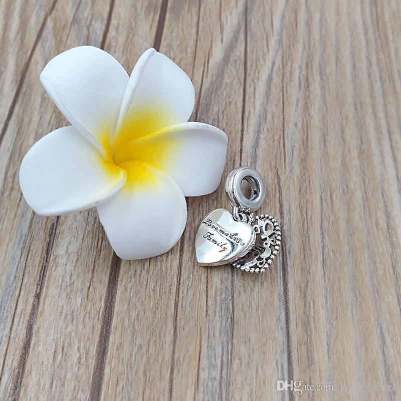 925 Gümüş Boncuk Aşk Bir Aile Dangle Charm Charms yapar Avrupa Pandora Stil Takı Bilezikler Kolye 796459EN28 uyar