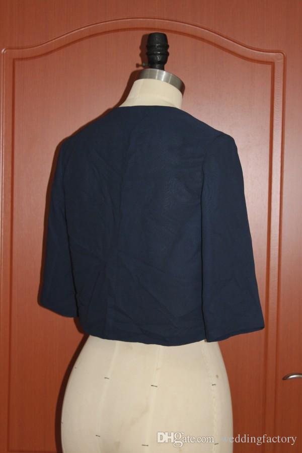 리얼 이미지 다크 네이비 블루 시폰 볼레로 자켓 여성용 랩 웨딩 저녁 파티 공식 겸손한 자켓 랩 고품질