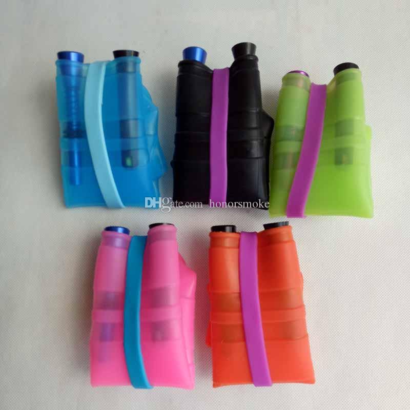 Narguilés silicone eau portable pour fumeurs Eau Percolateur Bang sec Herb Incassable Fumer huile et Concentré Tubes en métal en plastique