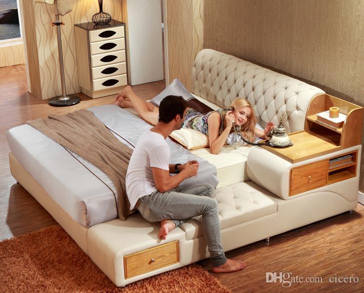 Acquista post moderno letto in vera pelle letto morbido for Camera matrimoniale letto king size