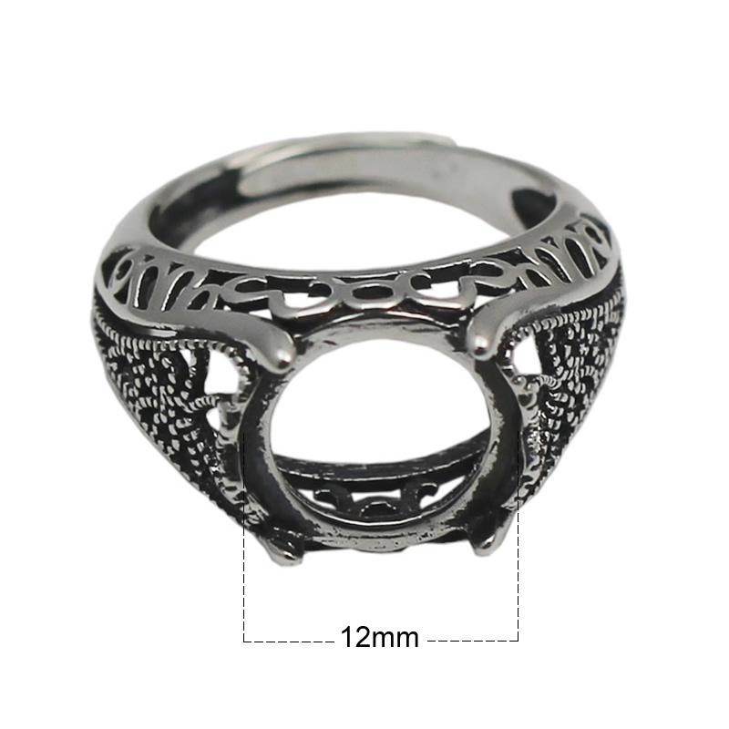 Beadsnice 925 sterling silver filigree ring setting fits 12mm round cabochon antique silver tone handmade rings for woman ID 33760
