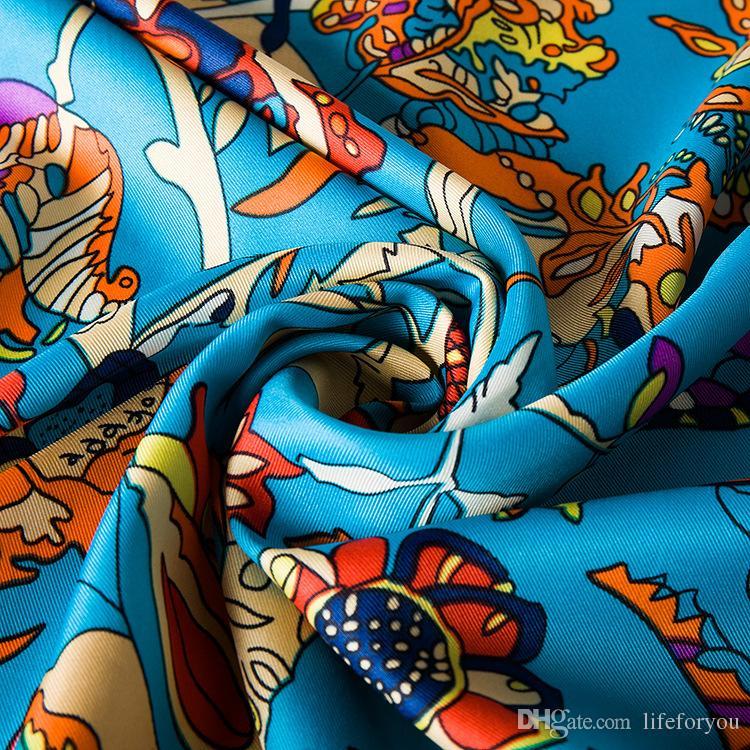 Silk Printing Scarf Kerchief fashion Scarves women ladies top grade muffler long Chiffon tree of life Bandanna Wrap Shawl