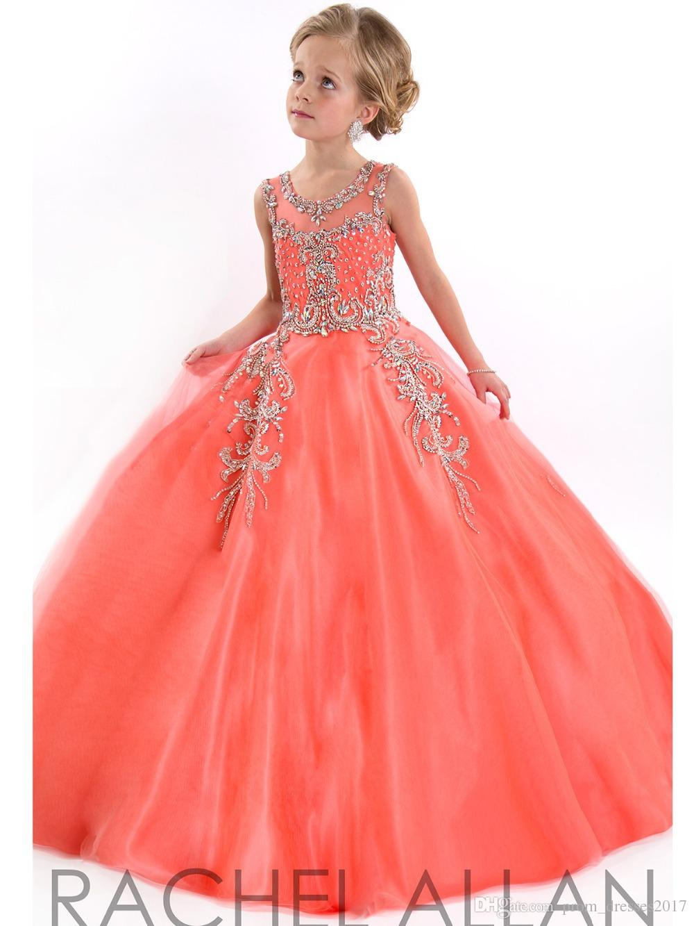 Little Girls Pageant Dresses For Teens Princess Rachel Allan Jewel Crystal Beading White Coral Kids Flower Birthday Gowns HY00732