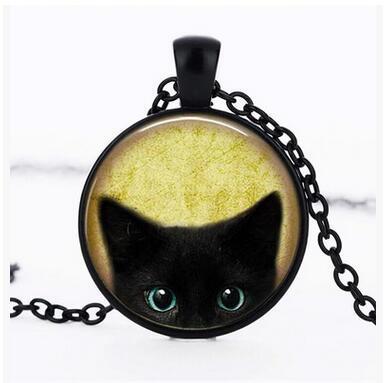 Schwarze Katze Glas Anhänger Kette Retro Schwarze Katze Halskette Lange Pullover Kette Schwarze Katze Bild Anhänger