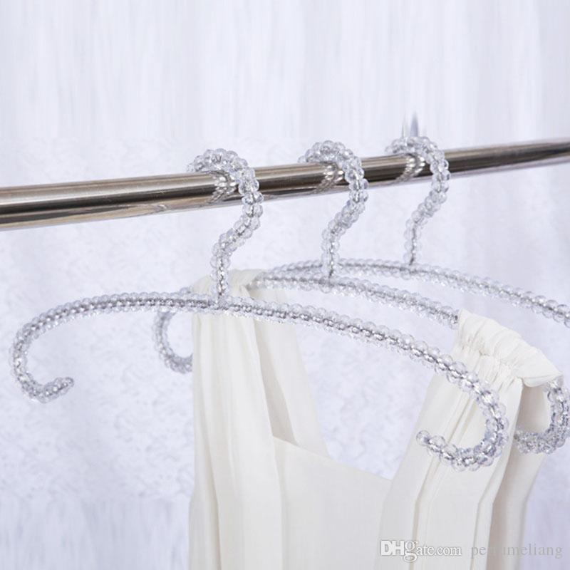 Fashion Acrylic Beads Hanger Women Clothing Skirts Dress Display Lady Clothes Crystal Hangers ZA4235