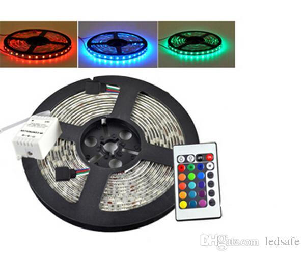 24v smd 5050 rgb دافئ أبيض أزرق led قطاع الخفيفة 5 متر الشريط 300 المصابيح أضواء الشريط 60 قطع / م ماء ip65 24 فولت + 24 مفاتيح تحكم عن