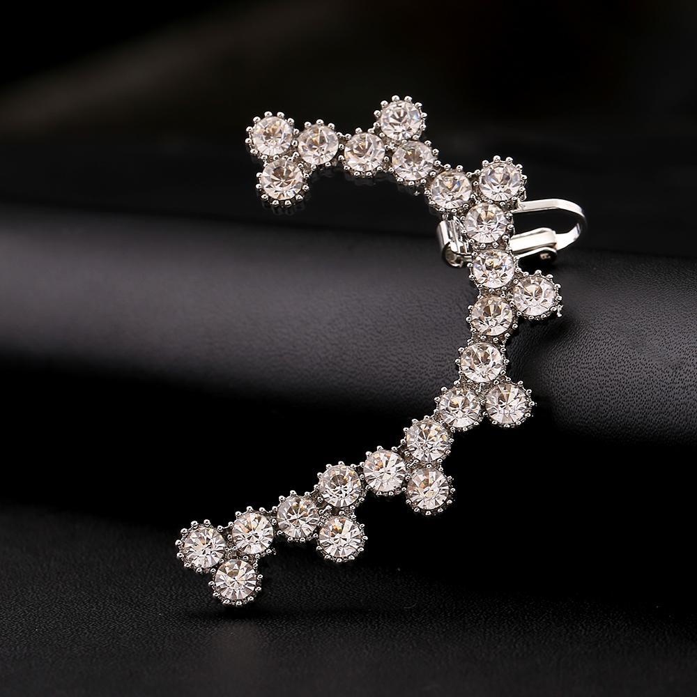 ZLDYOU Fashion Full Crystal Women Gold Silver Plated Ear Cuff Leaf Big Zircon Wedding Jewelry Rhinestones Curved Clip Earrings