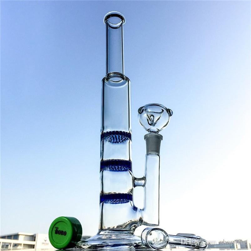 triple percolator Glass bongs 14mm joint Honeycomb perc bong water pipes blue green clear dab rigs with quartz banger oil rigs 10XX2