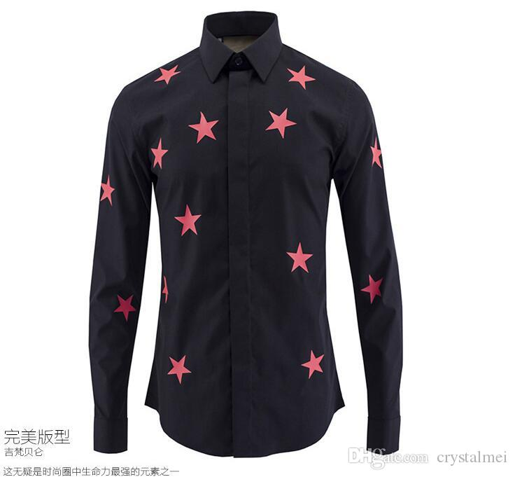 2016 Spring New Arrival Famous Design Star Printed Long-sleeved Shirt High Quality Slim Fit Mens Casual Fashion Shirt Hot Sale