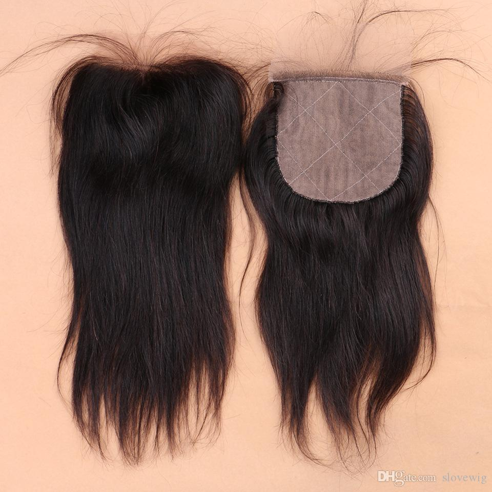 7A Straight Virgin Hair With Closure Silky Straight Human Hair Bundles With Silk Closure,4 Bundles With One 4*4 Closure