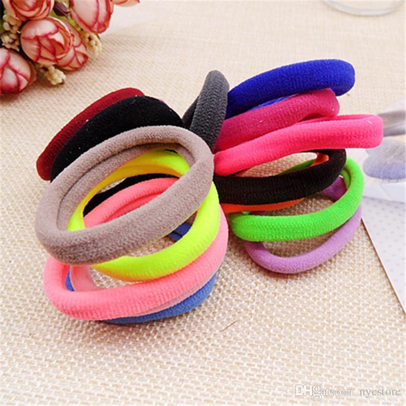 Wholesale Colorful Children Kids Hair Holders Cute Rubber Hair Band Elastics Accessories Girl Women Charms Tie Gum