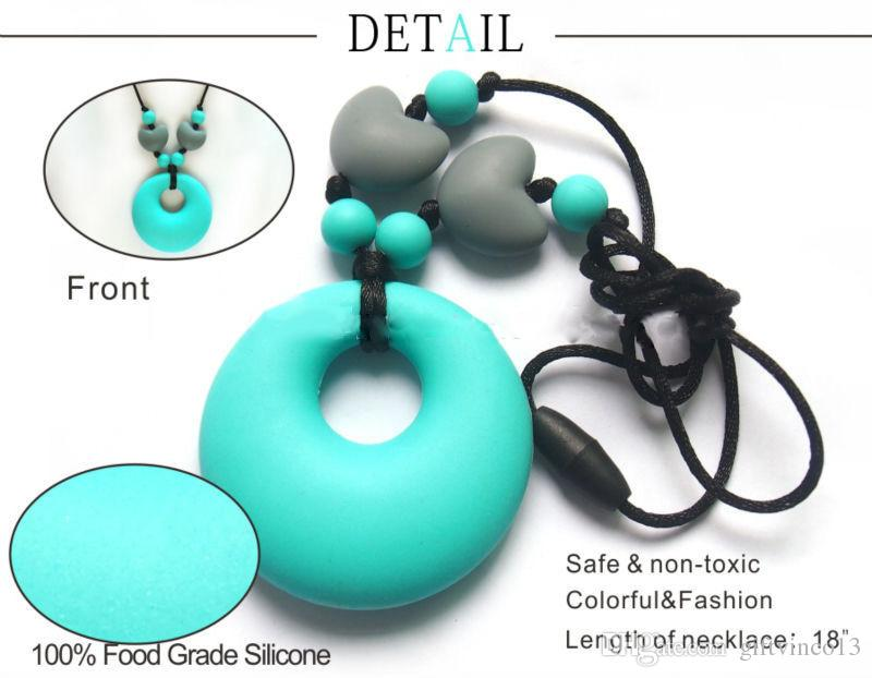 Wholesale Baby Nursing Jewelry Toy for Mom to Wear 100% Food Grade Silicone Teething Pendant Necklace for Chewing Popular Teething Necklace