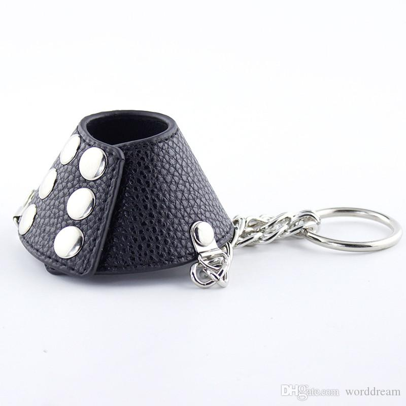 PU Leather Male Cock Cage Penis Rings Scrotum Bondage Belt Slave In Adult Games , Fetish Sex Products Toys For Men