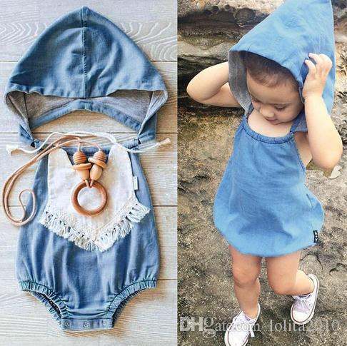 24b72a05e233 2019 2016 Summer Outfits Newborn Baby Girl Infant Toddler Hooded Denim  Rompers Pettiskirt Infant Jumpsuit Summer Bodysuits One Piece Kids Romper  From ...