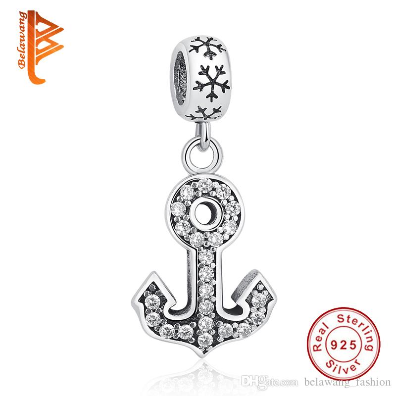 BELAWANG Brand New 925 Sterling Silver Pendant Anchors Shape Crystal Charm Beads Fit Pandora Bracelet&Necklace DIY Beads Jewelry Making