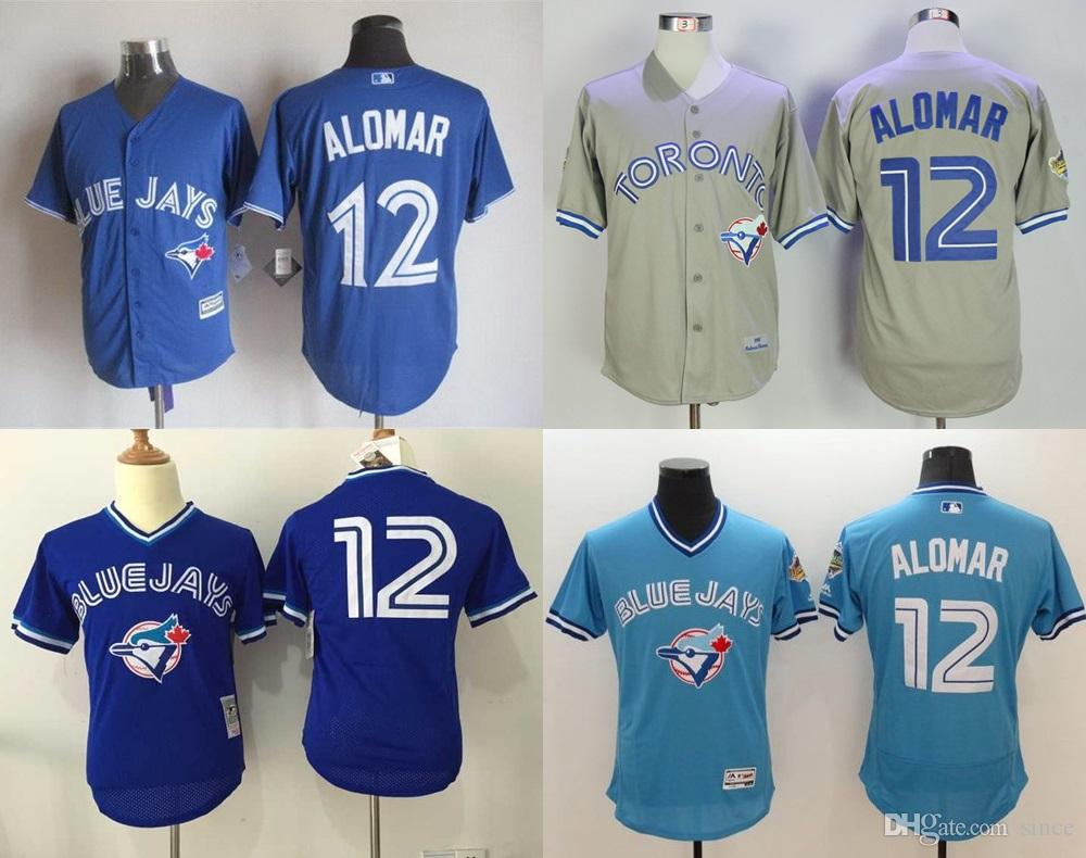 964229ad078 ... stitched mlb jersey 776e1 b36e4  order 2017 30 teams toronto blue jays  12 roberto alomar 1992 throwback jersey mens 100 embroidery