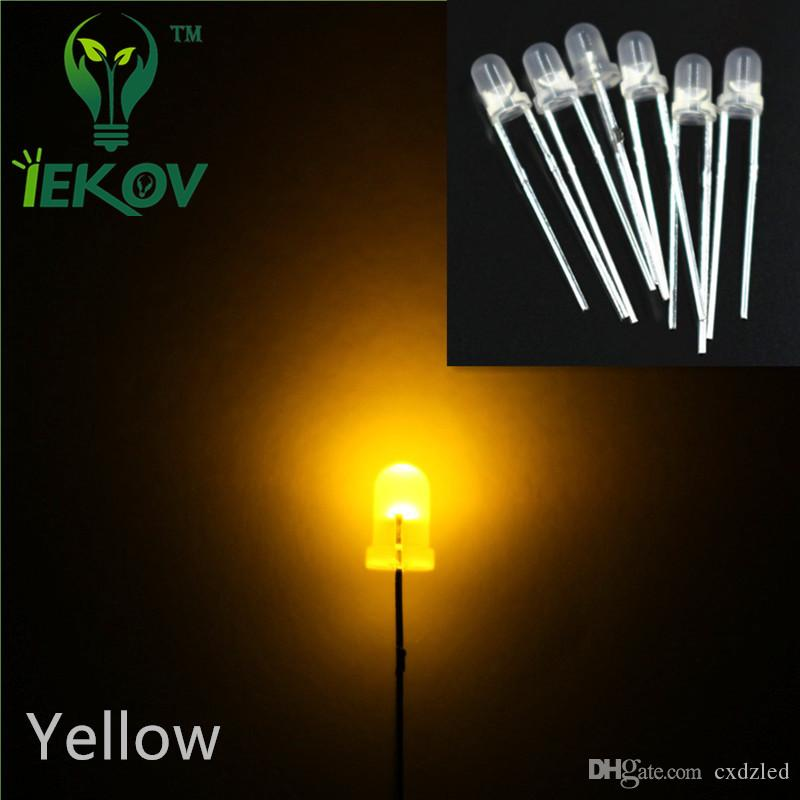High Quality 5000pcs/lot 3MM Round Top Diffused Yellow Leds Urtal Bright Bulb Light 3MM Emitting Diodes Electronic Components Wholesale