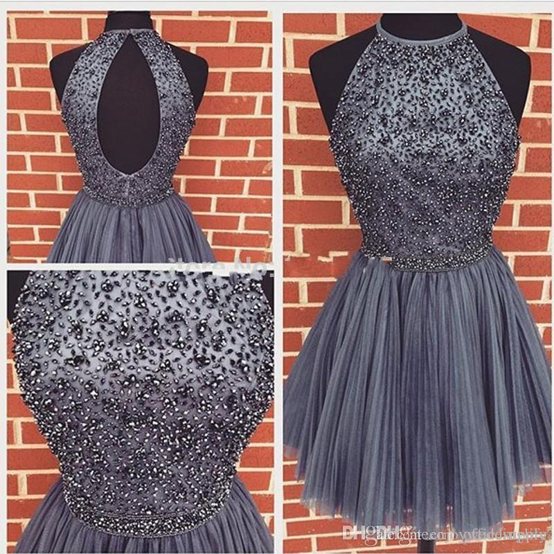 New Arrival Gray Short Homecoming Dresses 2017 Special Occasion Halter Open Back Beaded Crystals Sweet 16 Knee Length Gowns For Girls