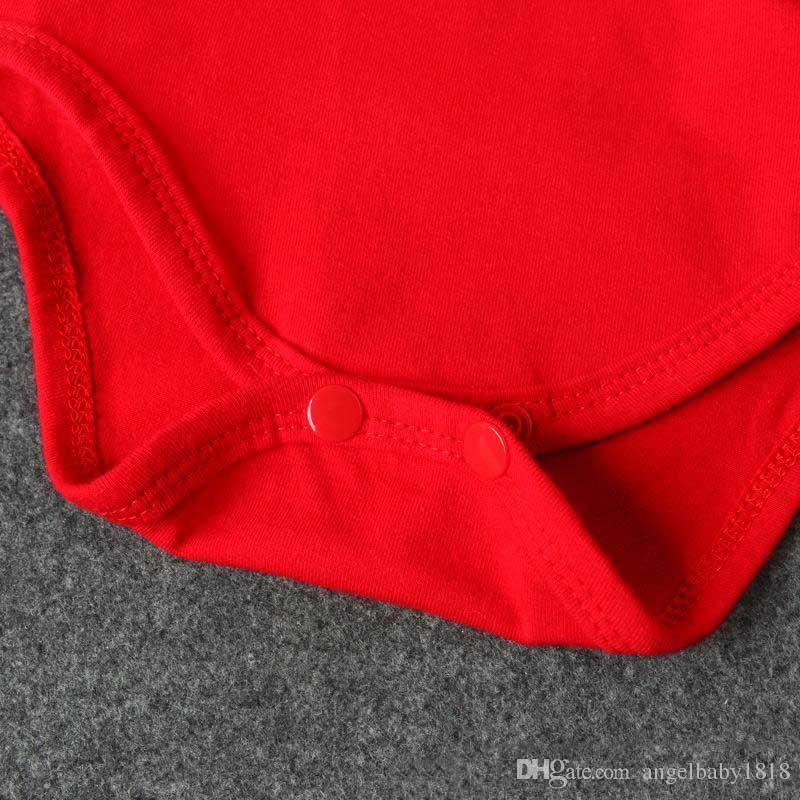 Baby Christmas romper sets vermelho pompon santa hat + vermelho romper infants cute Xmas festivais romanticos para 1-2T
