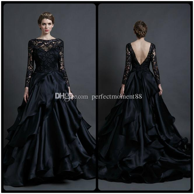 Black 2017 Gothic Wedding Dresses Lace Long Sleeve Ball Gown ...