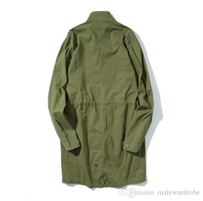 Mens Trench Coats Army Green EU Style High Street Coats Vintage Military Long Trenches Vestuário Coats