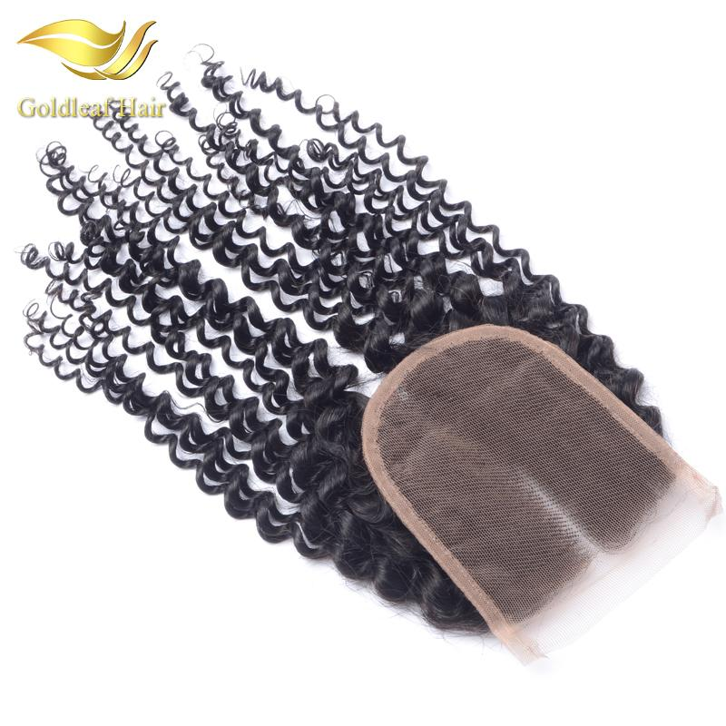 Chiusura riccia crespo 100% capelli umani vergini 4X4 crespo riccio crespo nodi nodi candeggiati trasporto medio 3 parte chiusura malese