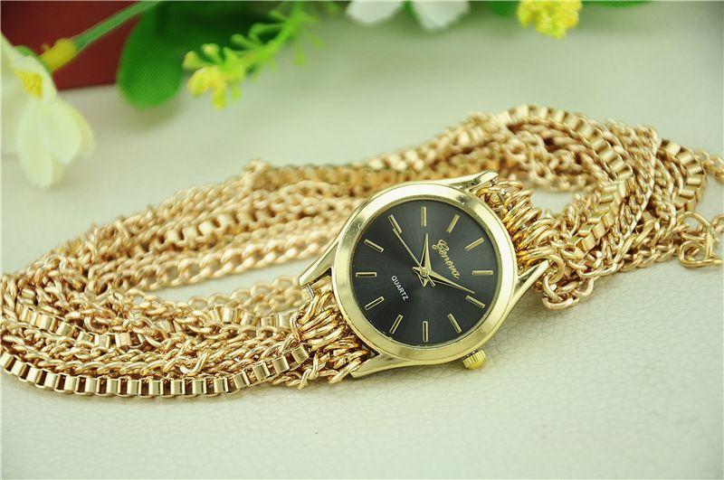 Fashion Geneva watch women long straps lock chain bracelet watch New wholesale casual ladies Full Steel dress quartz wrist watches for lady