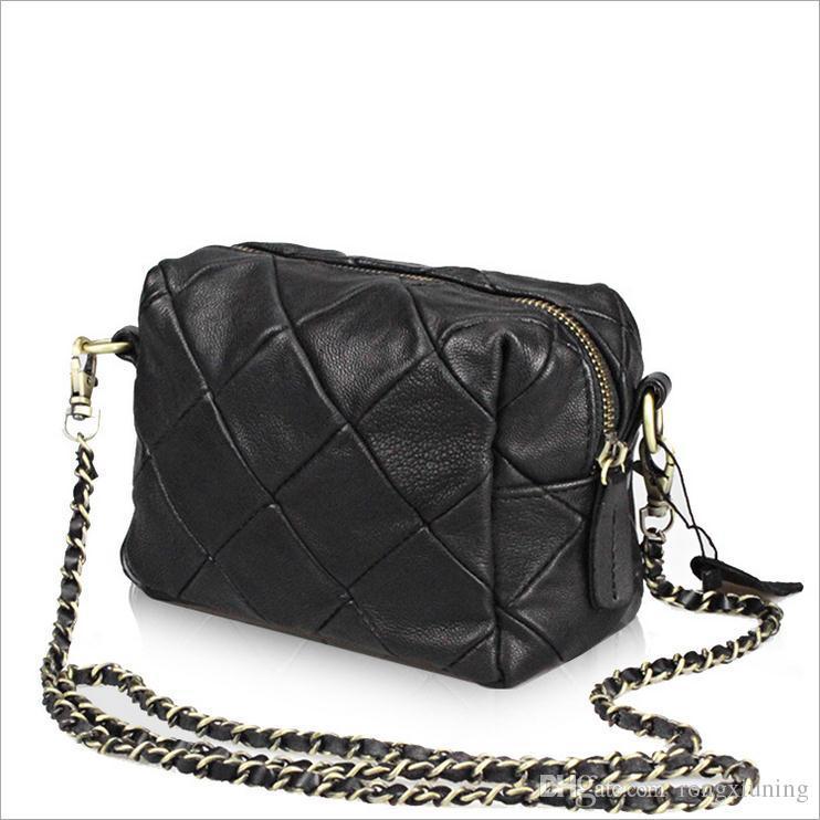 Ladies Handbagleather Woven Stitching Bag Portable Sheepskin MINI ... 4940c35fa0