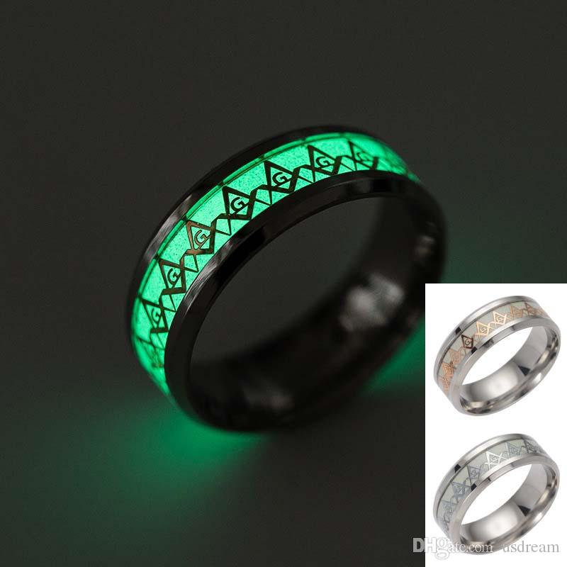 Freemasons Ring Stainless Steel Fluorescent Glowing Finger Rings