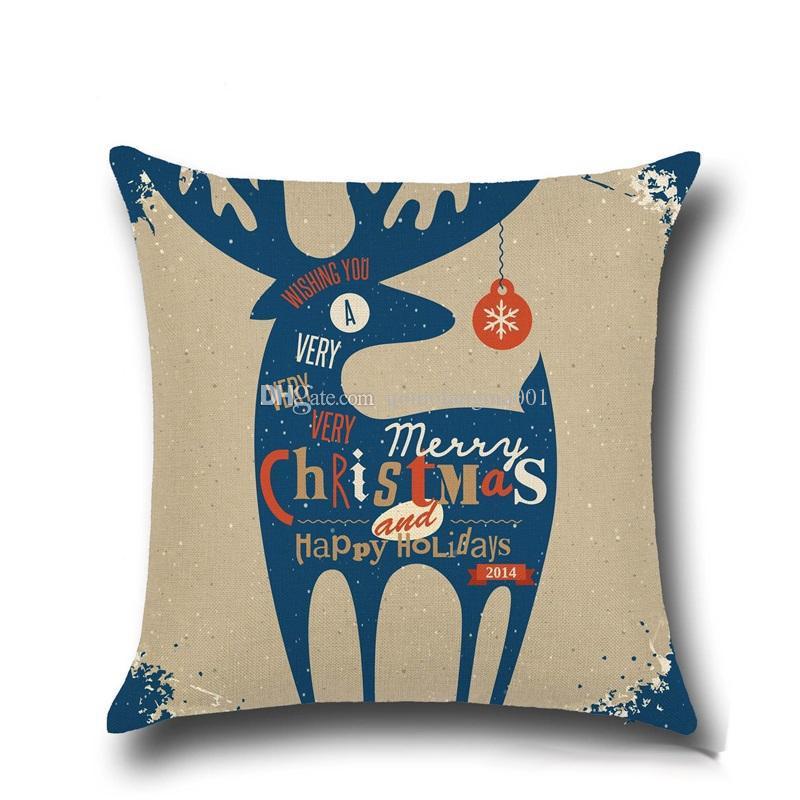 Alto Qulity Navidad Cubiertas cojín para Funda de almohada decorativa cómodo sofá de Santa Claus Impreso fundas de almohada de algodón