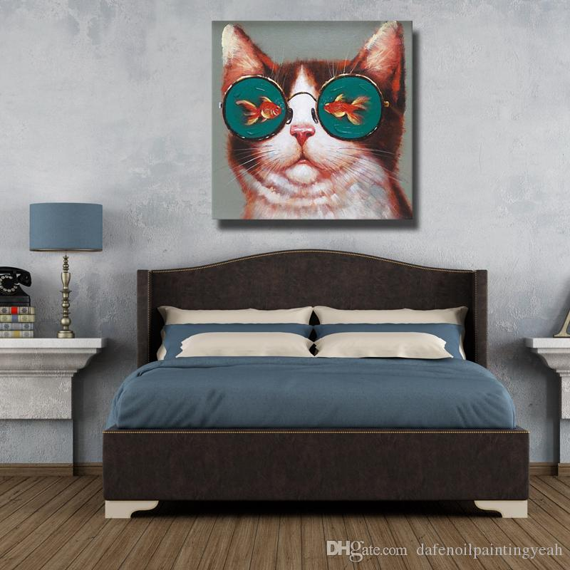 Die Katze Mit Fisch Gläser Lustige Malerei Leinwandbilder für Schlafzimmer Dekoration Handgemalte Ölgemälde Dekorative Bilder Kein Gestaltet