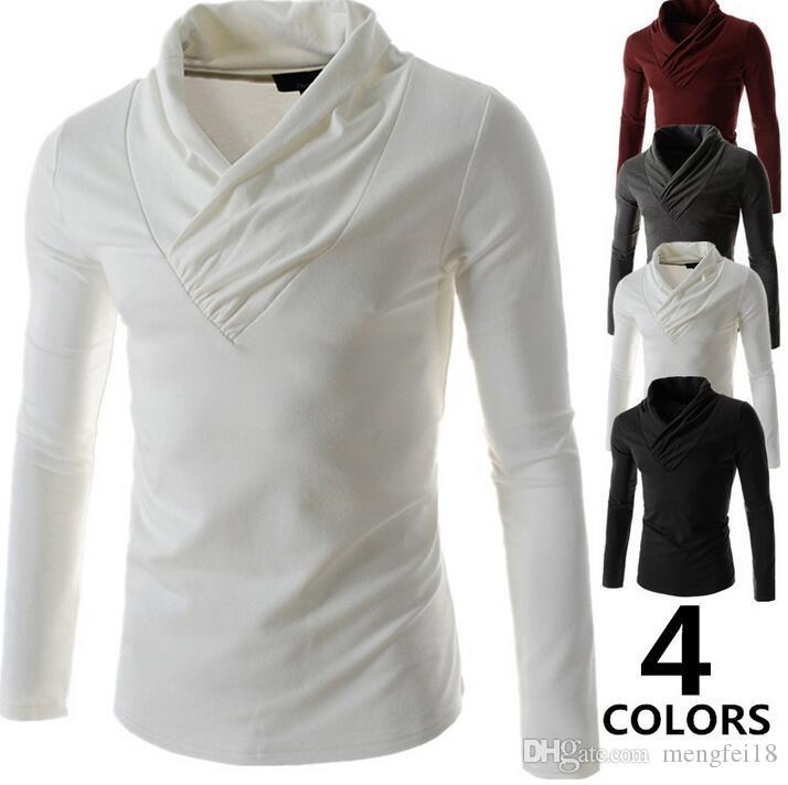 Envío gratis - otoño camiseta de los nuevos hombres. Camiseta de manga larga de color puro para cultivar la moralidad de uno, cultivar la moralidad de uno mismo