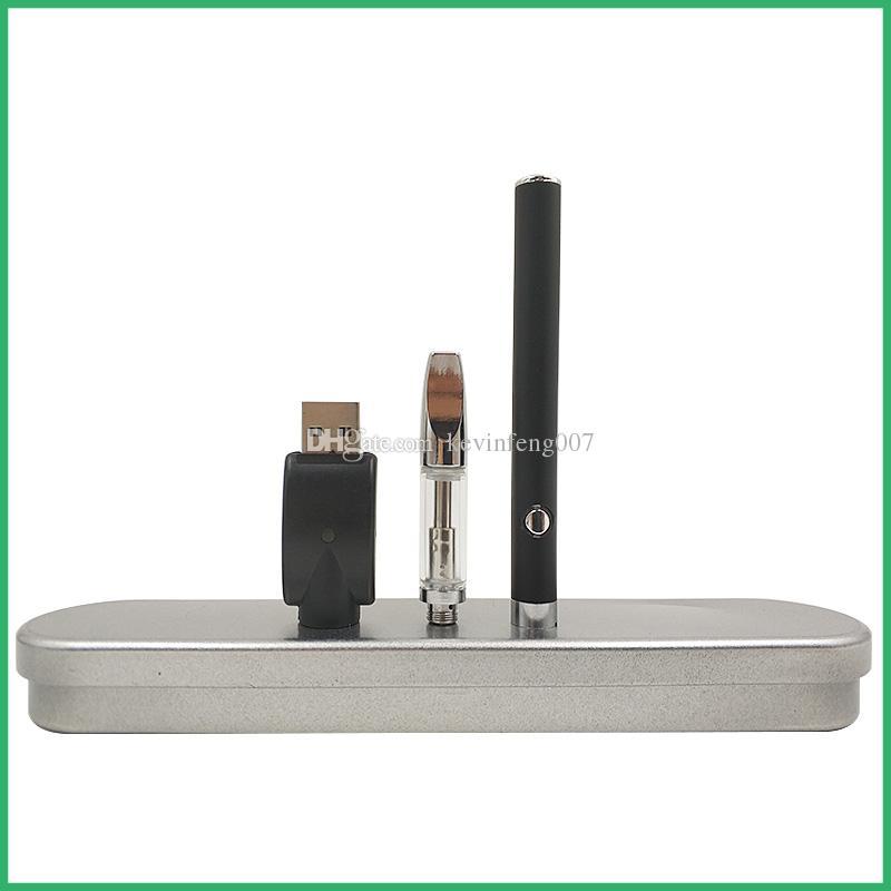 Precalentamiento manual Batería Lápiz Cargador micro USB inferior Kit de caja de metal BUD Pyres SS Cartuchos de vidrio CE3 Atomizador de aceite de CO2 Depósito de cera