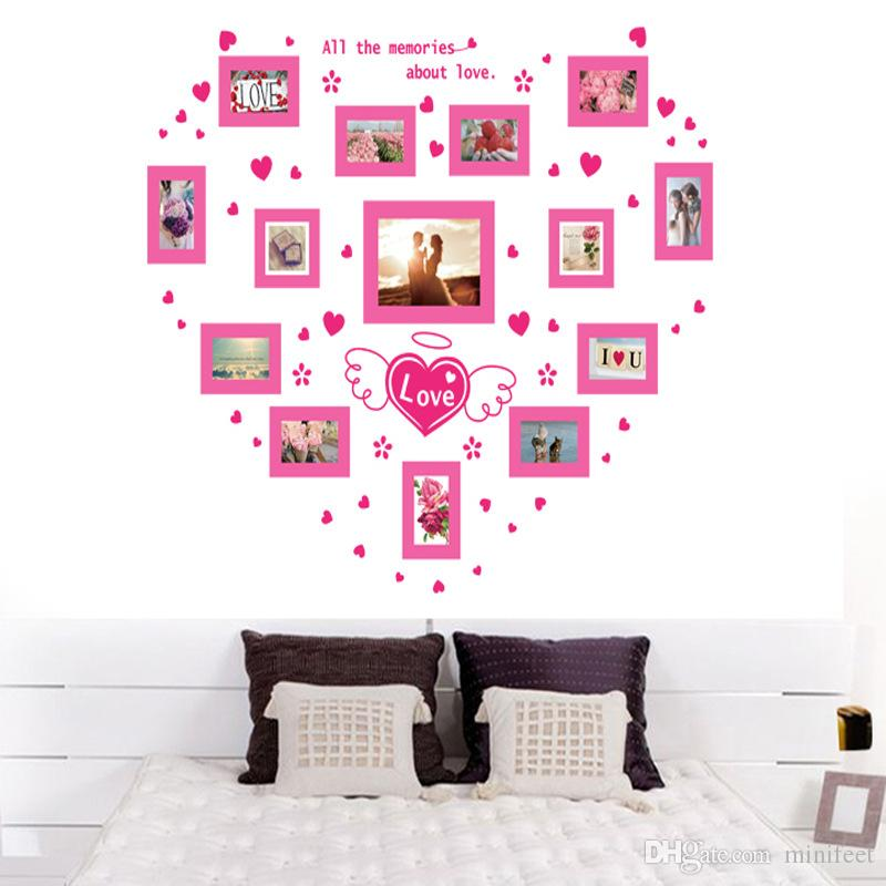 Pink love heart photo frame wall stickers can be removed bedroom wedding marriage room living room decorative wallpaper