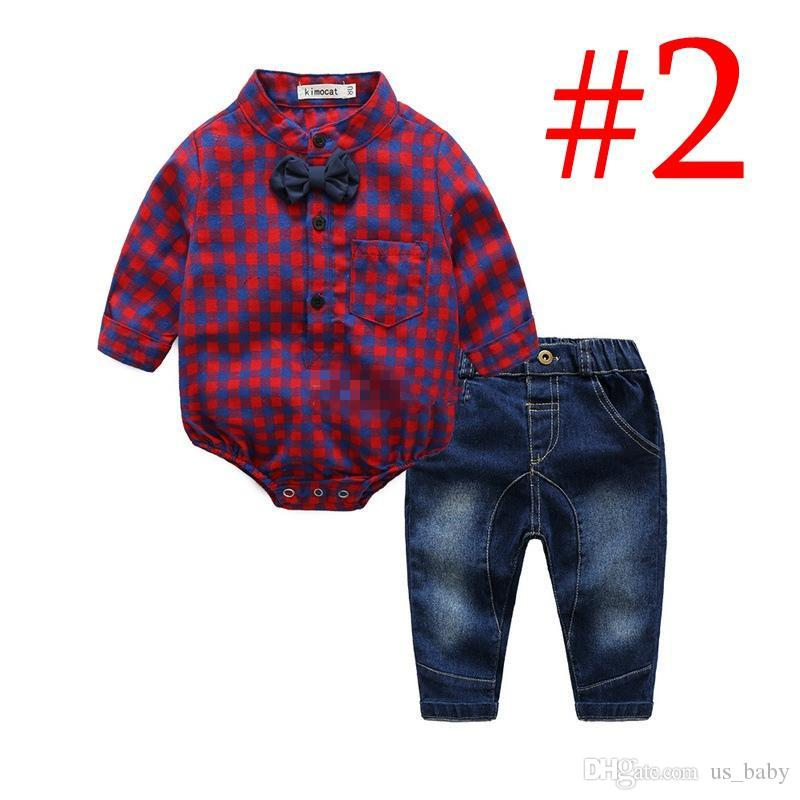 faf8bf50b 2019 Baby Boys Gentleman Romper Sets Toddler Cotton Clothing Plaid Long  Sleeve Rompers Jeans Set Boutique Bodysuit From Us_baby, $9.85 | DHgate.Com