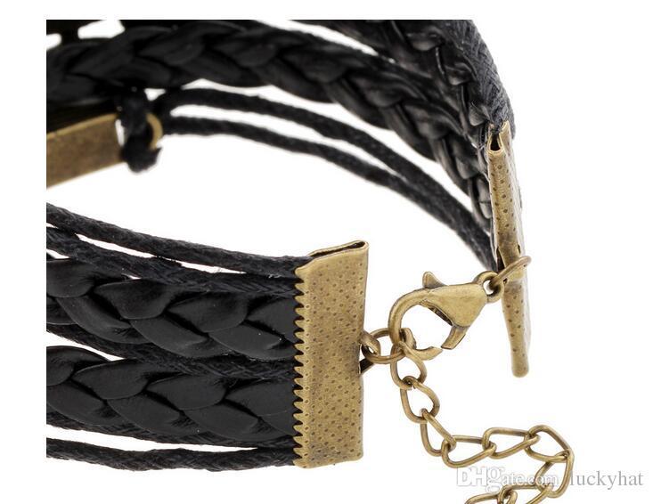 new DIY jelwery accessories charm bracelet love dream owl bracelet bangle green black bracelet dream love diy Handmade woven retro Bracelet