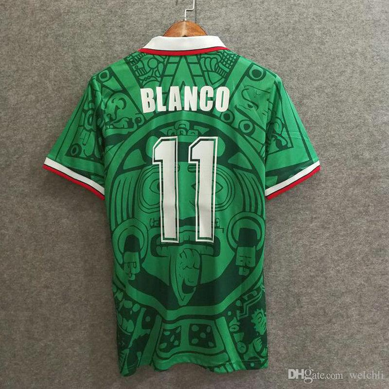 45cc4706e 2019 Classic 1998 World Cup Soccer Jerseys Mexico Home Retro Football Shirts  Custom Name Number BLANCO 11 Soccer Uniforms Thailand Quality From Welchli