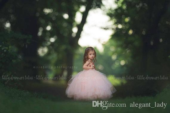 Розовое золото Блестки Румяна Туту Платья для девочек-цветочков Пышная юбка Полная длина Маленький малыш Младенческая свадьба Причастие Forml платье