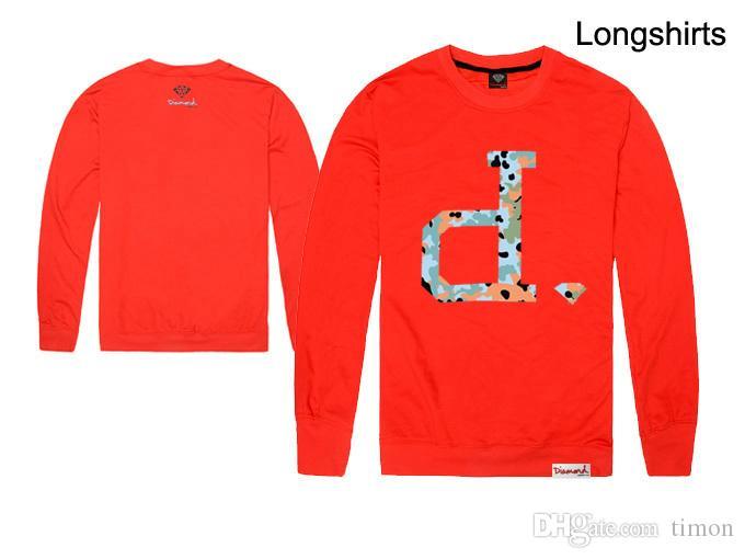 힙합 다이아몬드 공급 co .com 티셔츠 긴팔 남성 New 도착 티 Streetwear T 셔츠 최고 품질의 코튼 셔츠 무료 배송