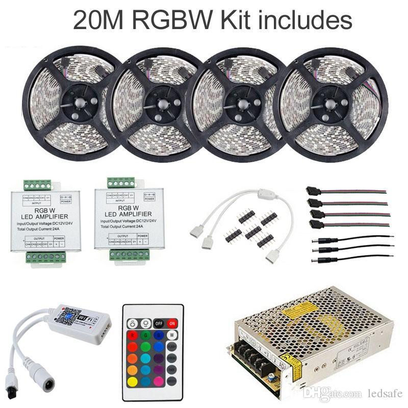 20m RGB RGBW WIFI Smart LED гибкая полоса света 5050 SMD 60leds / m 5m / roll водонепроницаемый IP65 + музыка таймер режим пульт дистанционного управления + усилитель