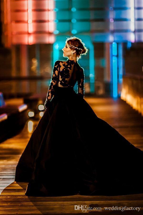 Robes De Mariée Noires Sexy Robes De Mariée Gothiques Pas Cher Une Ligne Illusion À Manches Longues En Dentelle Appliques Sheer Top Jupe En Taffetas De Cravate