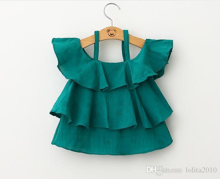 2016 الأزياء عالية الجودة الفتيات الصيف تانك القمم جديد الطفل الاطفال ملابس الفتيات خارج الكتف الأميرة تي شيرت البسيطة فساتين الأطفال فستان قصير