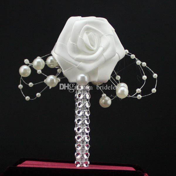 MainMade Groom Boutonnière Blanc Ruban Rose De Mariage Bouquet Fleur Groomsmen Corsages Partie Prom Homme Costume Accessoires