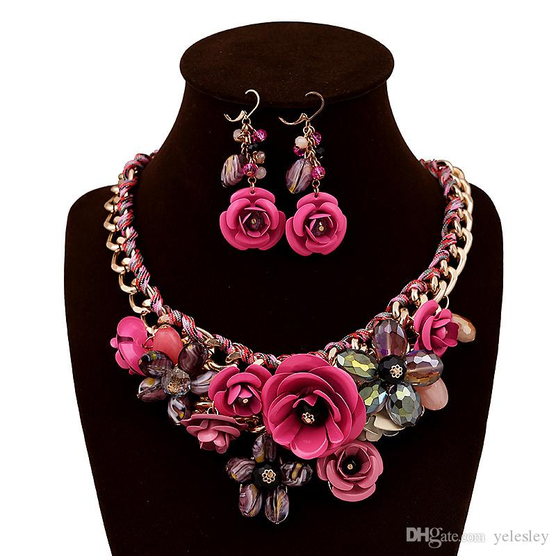 Fashionable Jewelry Sets Women Flower White K Necklace Earrings Sets Jewelry Set Rose Gold Plate Crystal Enamel Earring/Necklace/Ring Flower