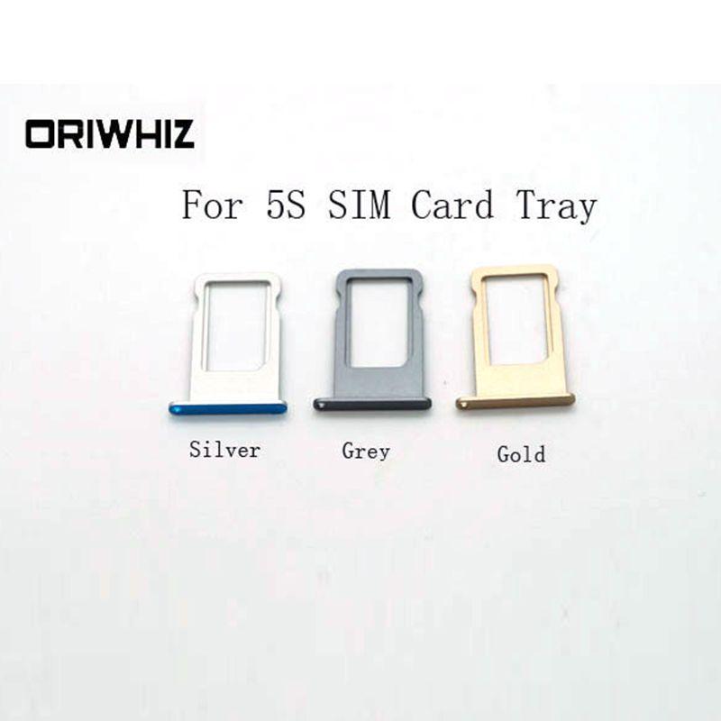 Bandeja de tarjeta SIM de alta calidad para imágenes reales para iPhone 5S Plata Oro Negro Disponible Orden de mezcla disponible Aceptar