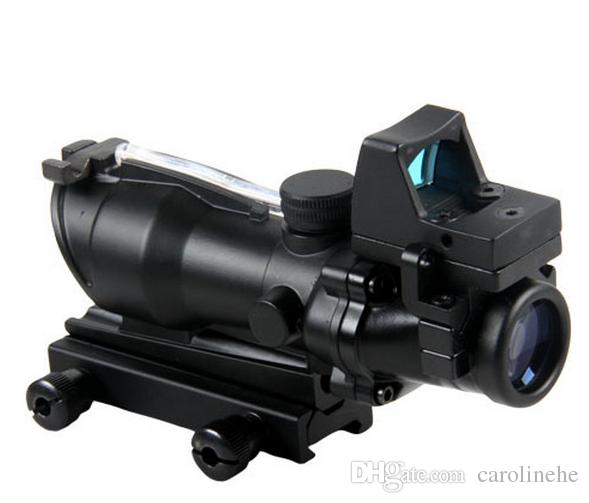 Hunting ACOG Style 4X32 Real Fiber Trijicon Duel Illuminated Sight Scope RMR Micro Red or Green Fiber w/ RMR Micro Red Dot