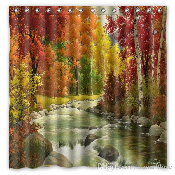 2019 Autumn Landscape Painting River Wood Design Shower Curtain Size 180 X Cm Custom Waterproof Polyester Fabric Bath Curtains From Littemanthree