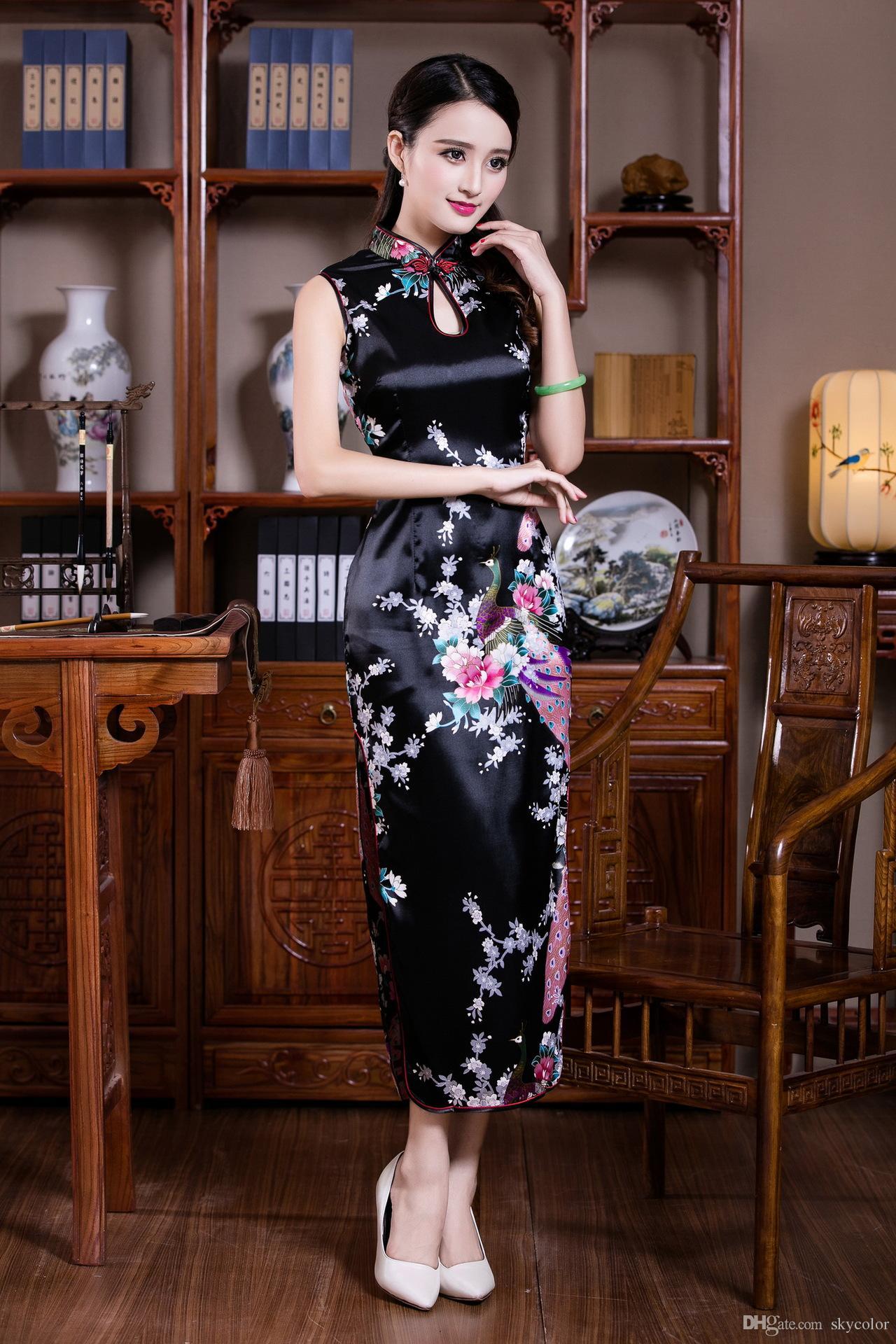 BLACK WHITE RED Blue Chinese Silk Satin Women's Dress Long Cheongsam Qipao Coat Skirt evening dress Bridal gown size S-3XL