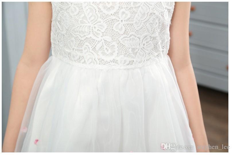 Neue 2016 Große Mädchen Sommer Prinzessin Kleid Nettes Mädchen Spitze Net Garn Blume Kleider Kinder Sleeveless Tutu Röcke Kinder Kleidung 2 Farben 4-12 T
