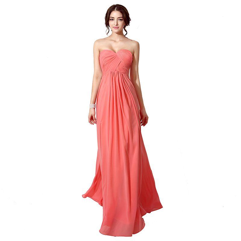 Compre Vestidos De Dama De Honor De Color Verde Menta De Color Coral Gasa Hasta El Suelo Una Línea Vestido De Fiesta Largo Naranja Vestido De Dama De